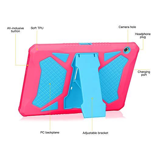 Eastcoo Schutzhülle für Huawei MediaPad T5 10,1''-3 Schicht weiches TPU, robuster und harter PC-Ständer Ständer Stoßfester Beweis Hybrid Heavy Duty Silikonhülle für Kinder (Rot / Blau)