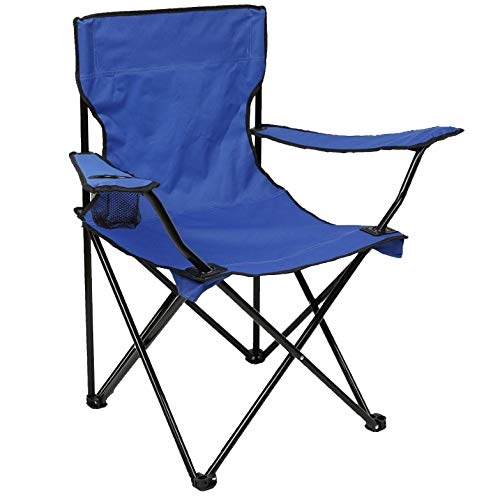 N2 Uncommon Life Folding Camping Chair, Portable Carry Bag for Storage and Travel, Best Durable Outdoor Quad Beach Chairs, Comfortable Arms, Space Saving, Lightweight Great for Transport (Royal Blue)