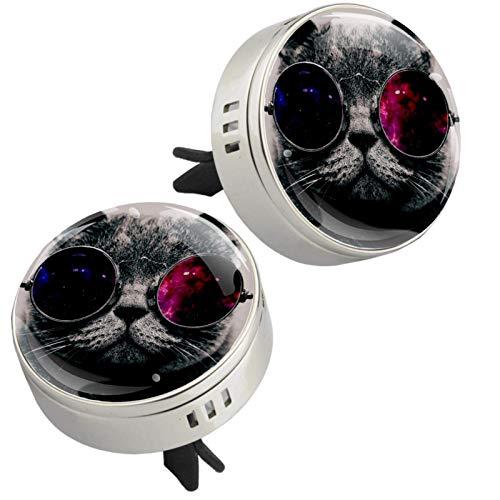 Z&Q 2 Piezas de Medallón con Clip de Ambientador Gafas de Sol de Gato Difusor de Aceite Esencial de Aromaterapia de Coche con 4 Piezas Estera de suplemento de PE 33.8mmX46.4mm