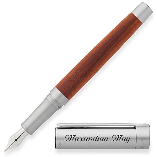 STAEDTLER Premium Füllfederhalter Initium Lignum Holz Pflaume mit persönlicher Laser-Gravur Aluminium natur eloxiert