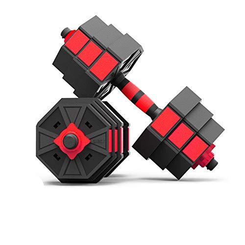 XUMENG Manubri Fitness da 20 kg, Manubrio Ottagonale, Attrezzatura Fitness da Casa per Uomo, Bilanciere in Cemento Ambientale PE,Red