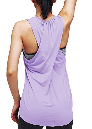 Mippo Womens Workout Tops Cute Summer Yoga Tops Sexy Cross Back Workout Tanks Soft Exercise Juniors Tops Sports Gym Clothes Sleeveless Athletic Running Racerback Tank Tops Purple S