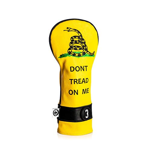 Pins & Aces Golf Co. Don't Tread On Me Premium Fairway Headcover - Quality Leather, Hand-Made Golf Wood Head Cover - Style Customize Your Golf Bag - Tour Inspired, American, Patriotic Classic Design