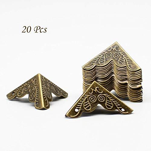 LUCY WEI 20 stuks 25 * 25 * 25 mm driezijdige antieke metalen beschermhoeken meubels hoeken, voor dozen dozen meubels plank tafel enz, (brons) bronskleurig