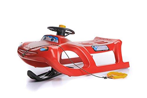 Unbekannt Schlitten Kinderschlitten Rodel aus Kunststoff mit Zugseil und Lenkung Zigi-Zet Control 2 Farben (Rot)