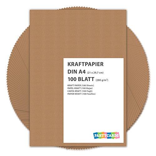 100 hojas de papel de estraza cartón kraft DIN A4 280 gr/m2 Natural en alta calidad, ideal para manualidades y DIY marrón gitano tarjetas boda invitación