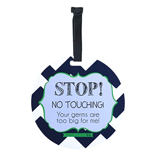 THREE LITTLE TOTS – Seahawk Blue Baby Boy Stop No Touching Car Seat Sign or Stroller Tag - CPSIA Safety Tested