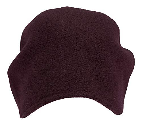 LOEVENICH modische Damen Beanie Wollmütze aus Reiner Schurwolle, Farbe: vino