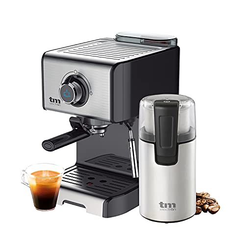 TM Electron TMPCF101PACK Pack Cafetera Espresso + Molinillo eléctrico de café, Acero Inoxidable