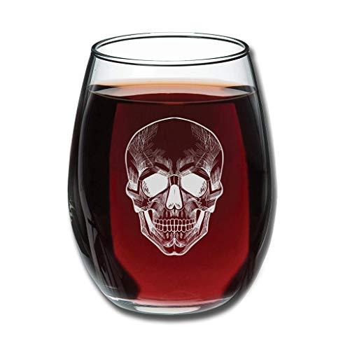 Bohohobo Libbey Weinglas ohne Stiel, Totenkopf, 350 ml, Weinglas für Rot- und Weißwein, spülmaschinenfest, herzwärmender Geschenk für Familie, weiß, 350 ml