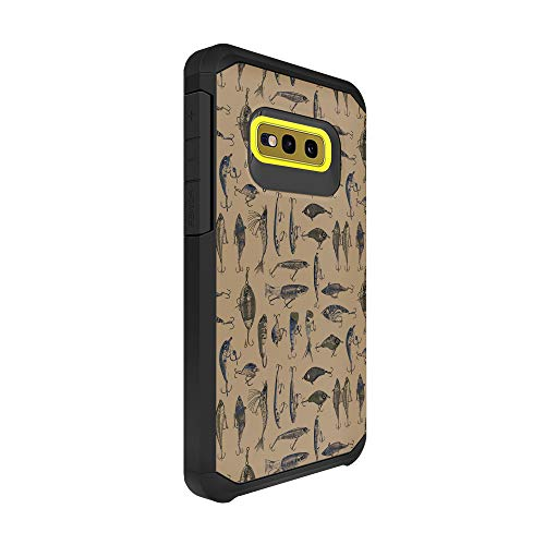 TurtleArmor | Compatible with Samsung Galaxy S10e Case | S10 Lite Case | G970 | Slim Armor Hard Dual Layer Hybrid Case Girls - Fishing Hooks