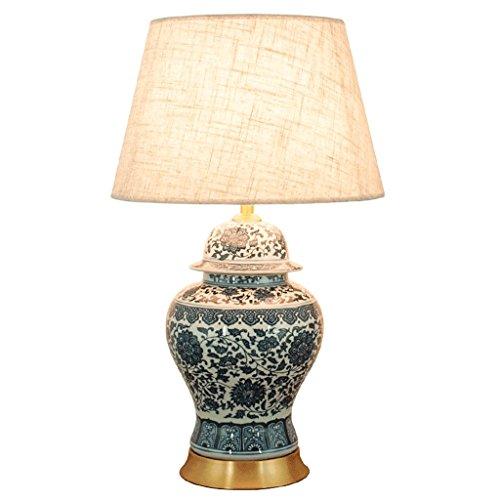 Lampade da Tavolo Lampade da Scrivania Nuova lampada da tavolo in porcellana cinese blu e bianca vintage, lampada da tavolo in ottone anticato, paralume grigio moderno minimalista, elegante studio per