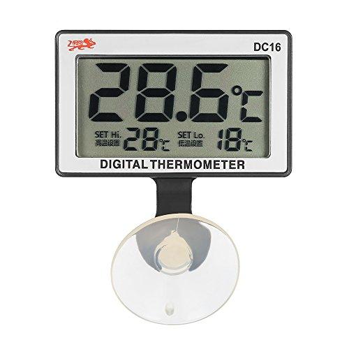 Walmeck- LCD Termómetro De Acuario Digital con Ventosa, Alarma De Temperatura Alta/Baja, Sumergible, 0 ° C ~ 50 ° C