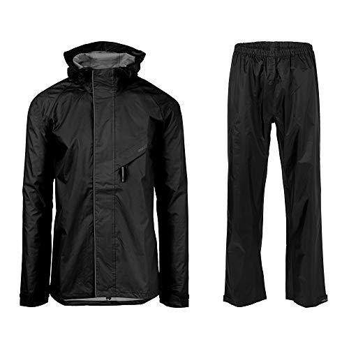 AGU Essential Passat Regenanzug, Regenkleidung Fahrrad Herren & Damen, Wasserdicht & Reflektierend, 100% Recyceltes Polyester, Unisex - L - Schwarz