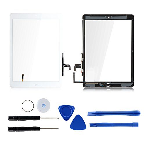 For iPad Air 1 A1474 A1475 Touch Screen Digitizer Glass Replacement with Tools and Adhesive (White)