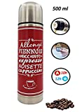 Thermos Bouteille Isotherme Inox Addict Rouge, Maintien Chaud 10 Heures et Froid 12...
