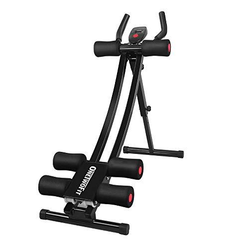 ONETWOFIT Bauchtrainer | Bauchmuskeltrainer klappbar für Zuhause | gezieltes Bauchmuskeltraining mit LCD-Display | OT129