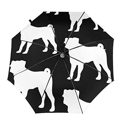 Mops-Hunde-Silhouette, schwarz auf weiß, automatisches Öffnen/Schließen, tragbar, dreifach faltbar, wasserdicht, UV-beständig, winddicht, langlebig
