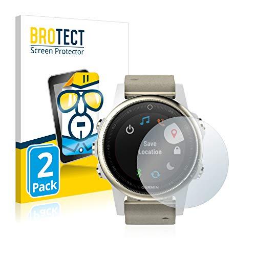 BROTECT Schutzfolie kompatibel mit Garmin Fenix 5S (42 mm) (2 Stück) klare Bildschirmschutz-Folie