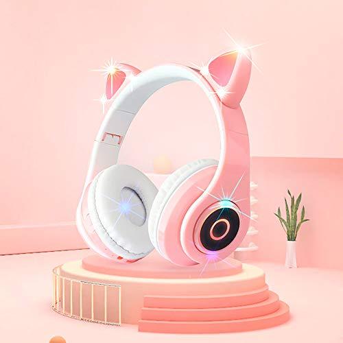 最新型ヘッドセットブルートゥースイヤホン猫の耳が光る可愛い女性用ワイヤレススポーツステレオヘッドセット 猫耳ヘッドホン 5.0 LED付き キラキラ 虹色変換 マイク内蔵 密閉型 柔らかい サイズ調節可能 子供用 大人用 密閉型 通話可 有線無線兼用 ピン