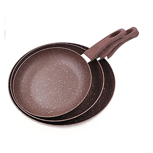 Yinyimei sarten Antiadherente Sartén Antiadherente 20/24 / 28 cm Conjunto Color marrón Pan de Granito Recubrimiento de Granito Pan Beiber Pan Gas Estufa de Gas (Farbe : 3pcs Set)