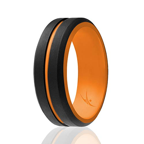 ROQ Silicone Wedding Ring for Men - Mens Silicone Rubber Wedding Bands -...