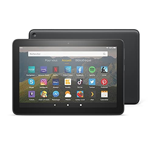 """Tablette Fire HD 8, écran HD 8"""" (20,3 cm), 64 Go (Noir), Sans publicités"""