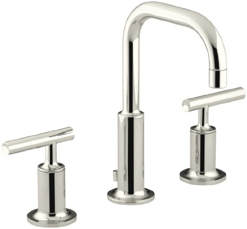 KOHLER Purist K-14406-4-SN Widespread Bathroom Sink Faucet with Metal Drain Assembly in Polished...