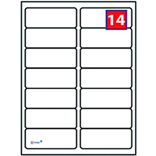 EJRange 14 etiquetas por hoja A4, 100 hojas - 1400 etiquetas en total, etiquetas autoadhesivas de dirección compatibles con impresoras de inyección de tinta y láser - Etiquetas adhesivas imprimibles