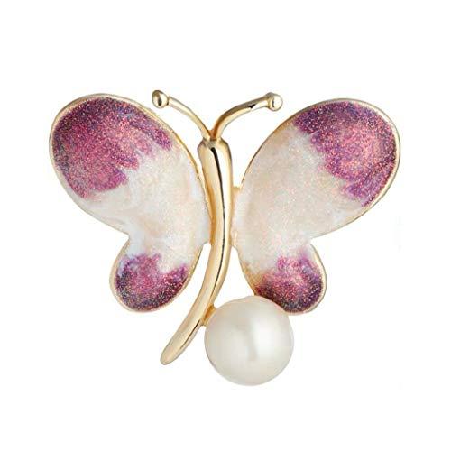 ZFF Broche para Mujer, Aleación ecológica, Forma de Mariposa, Rosa y Azul, Bufanda de Seda, Hebilla con mantón, Vestido con Joyas en el Pecho 3.1 × 3.8 cm (Color : Pink)