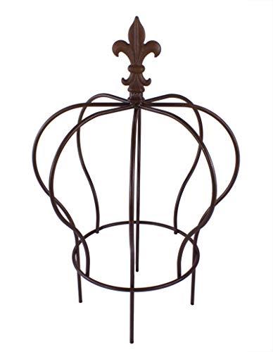 BigDean Metallkrone Pflanzstecker Rankgitter groß Lilie Shabby Landhaus ca. 46 x 32 cm rost antik gartenkrone rostkrone spalier