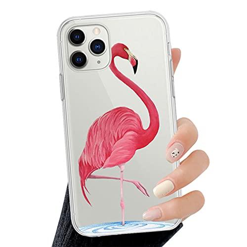 Rokmym Funda para iPhone 12 Pro Max Tropical Flamingo funda [antigolpes] suave silicona [resistente a arañazos] Flex TPU Bumper móvil funda transparente para iPhone 12 Pro Max 6.7 pulgadas