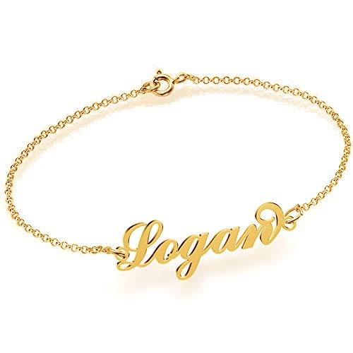 JOELLE JEWELRY Name Bracelet/Anklet 18K Gold Plated Silver - Personalized Women Bracelet Customize Charm Initial Link Bracelet