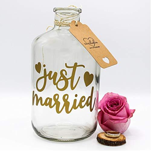 Spardose | Just Married | Gold | Geldgeschenk | Sparflasche | Sparbüchse | Hochzeitsgeschenk Brautpaar