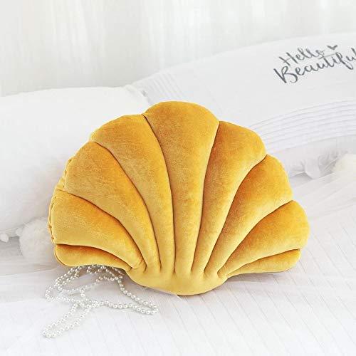 boogift Deko-Kissen, Weicher Plüsch Shell Kissen Meerestier Kissen Mehrere Größen Mehrere Farben Nette Kissen Squeeze Toy Dekoration für Schlafzimmer Wohnzimmer (Gelb, Mittlere 46 * 33 cm)