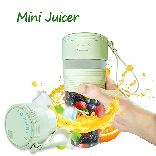 Portable Blender,Youmeet 10.1oz Personal Size Blender Cup,Quick Portable Juicer,USB Rechargeable Mini Blender for Shakes Smoothies Fruits Veggies Ice Home Office Sports Travel