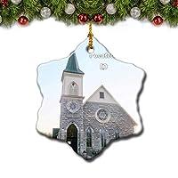ポカテロセントジョセフチャペルアイダホ米国クリスマスツリーの飾りクリスマスオーナメントトラベルギフトのお土産3インチ磁器両面