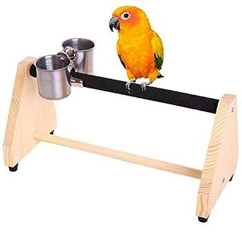 QBLEEV Support de jeu en bois pour perroquet - Perchoir à oiseaux - Plateforme - Support portable pour petits cacatoès, conures, perruches, pinsons