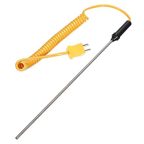 1 sonda de termopar tipo K, sensores de temperatura de cable amarillo de 100 mm/300 mm 0-600 ° C Rango de temperatura Termómetro digital de sonda de termopar