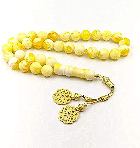 Yaoliangliang Collar de diseño Turco Collar de ámbar al por Mayor 33 Cuentas de Resina Color Amarillo Islam Borlas de Metal Pulseras de Rosario musulmán para Mujeres y Hombres