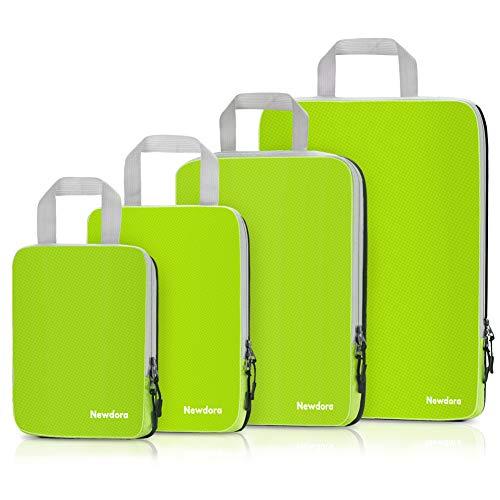 Newdora 4 en 1 Set de Organizador de Maletas, Impermeable Organizador de Equipaje, Bolsas de Viaje para Ropa Sucia de Viaje Verde