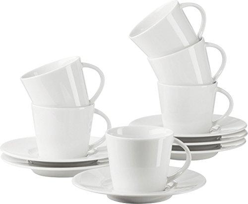 Gepolana Espressotassen, Espresso Set 12-teilig, Porzellan weiß - spülmaschinenfest, mikrowellengeeignet