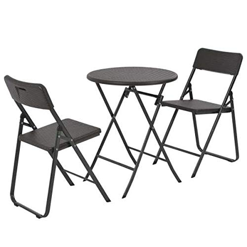 BNT Mesa y sillas jardín Plegables 3 pzas HDPE Aspecto ratán marrón