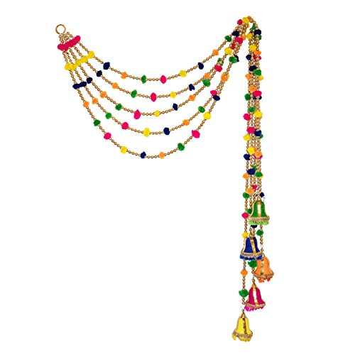 R and D Handicrafts Rainbow Handmade Indian Beaded Pom Pom Garland with Festive Bell 4ft Long Pack of 5 Strands for Diwali Bohemian Decor Boho Themed Celebration and Holiday Needs (Yellow)