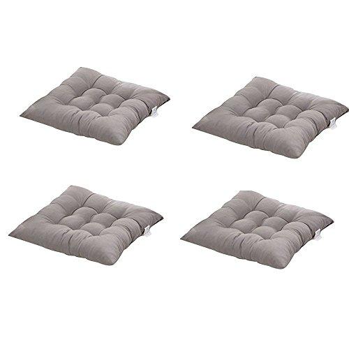 Worsendy Cuscino Sedia 40x40, Set da 4 Cuscini da Sedia Trapuntati,Morbido Cuscino per Sedia Cuscino Sedia Cucina da Giardino 40 x 40 x 8 cm,Disponibile in Tanti Colori Diversi (Grigio)