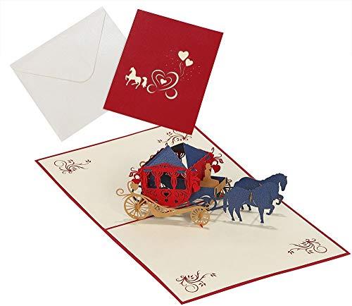 moin moin メッセージ カード バースデー 誕生日 グリーディング 飛び出す 切り絵 立体 3D ハート の 馬車 馬 赤 2セット