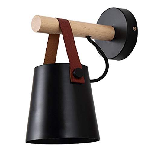 ACEHE 1 Lámpara de Pared (sin Enchufe de Bombilla) Lámparas de Pared de Madera nórdica Dormitorio al Lado de Luces LED de Pared Modernas Iluminación de Bar de Restaurante (Negro)