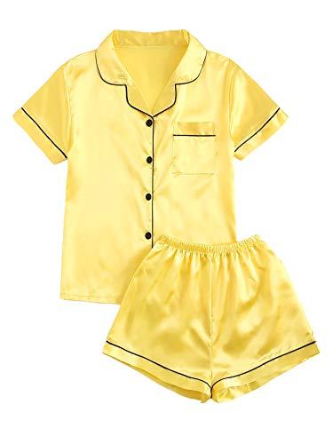 DIDK Women's Pocket Contrast Binding Satin Button Up Pajama Set Yellow S