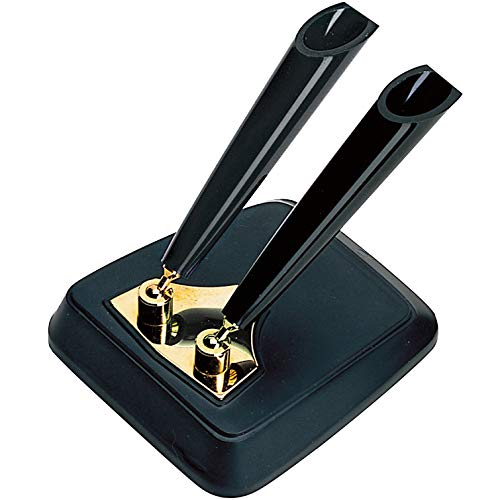 Platinum Desk Pen Stand - Double Pen - Black Red