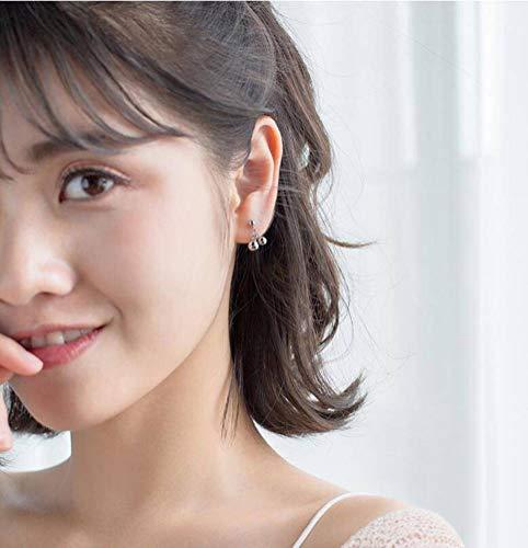 WOZUIMEI S925 Pendientes de Cuentas de Plata con Forma de Bola de Plata de Estilo Coreano para Mujer Pendientes Cortos Dulcesplata